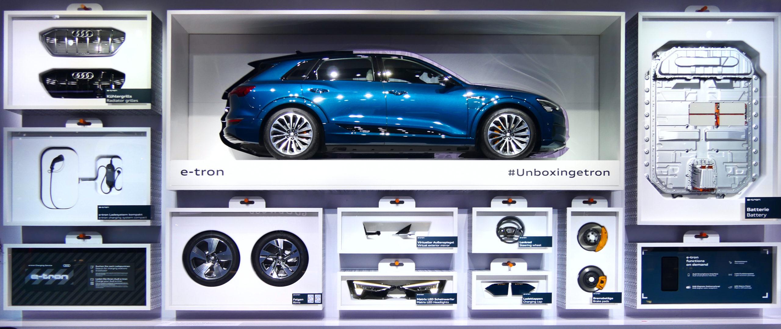 FRANKFURT, GERMANY - SEP 19, 2019: New Audi e-tron car showcased at the Frankfurt IAA Motor Show 2019. - Image